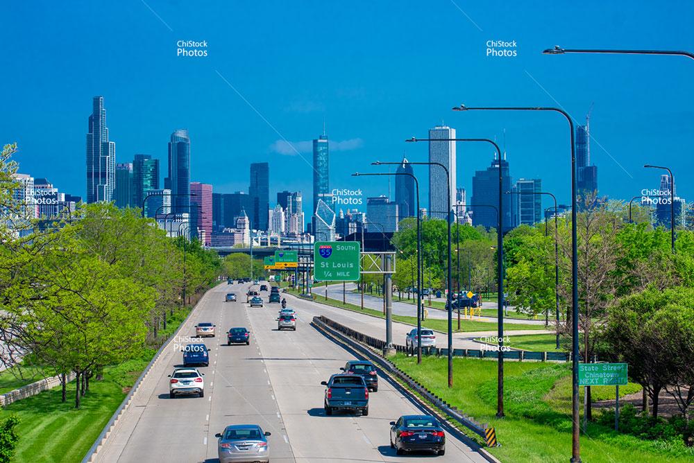 Chicago Skyline Above Lake Shore Drive Seen From Douglas Neighborhood