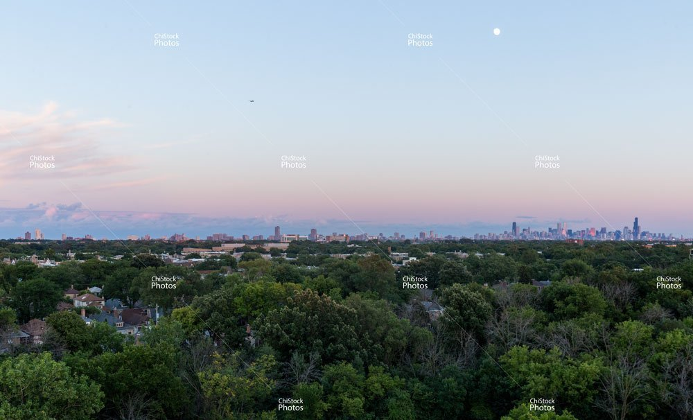 Chicago Skyline Seen From Austin Neighborhood During Twilight Summer Moon Magic