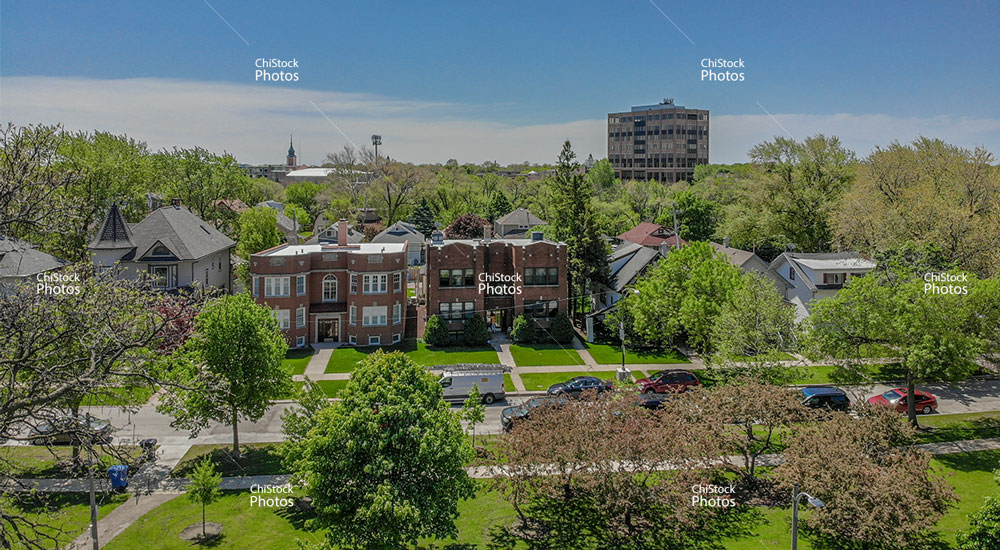 Aerial view of Jefferson Park Veterans Square Building Above Treeline