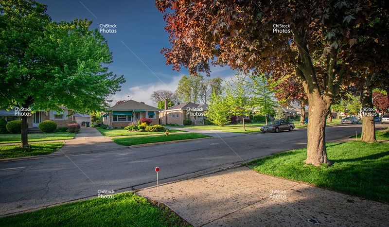 O'Hare Neighborhood Quiet Side Street Ranch Homes Architecture
