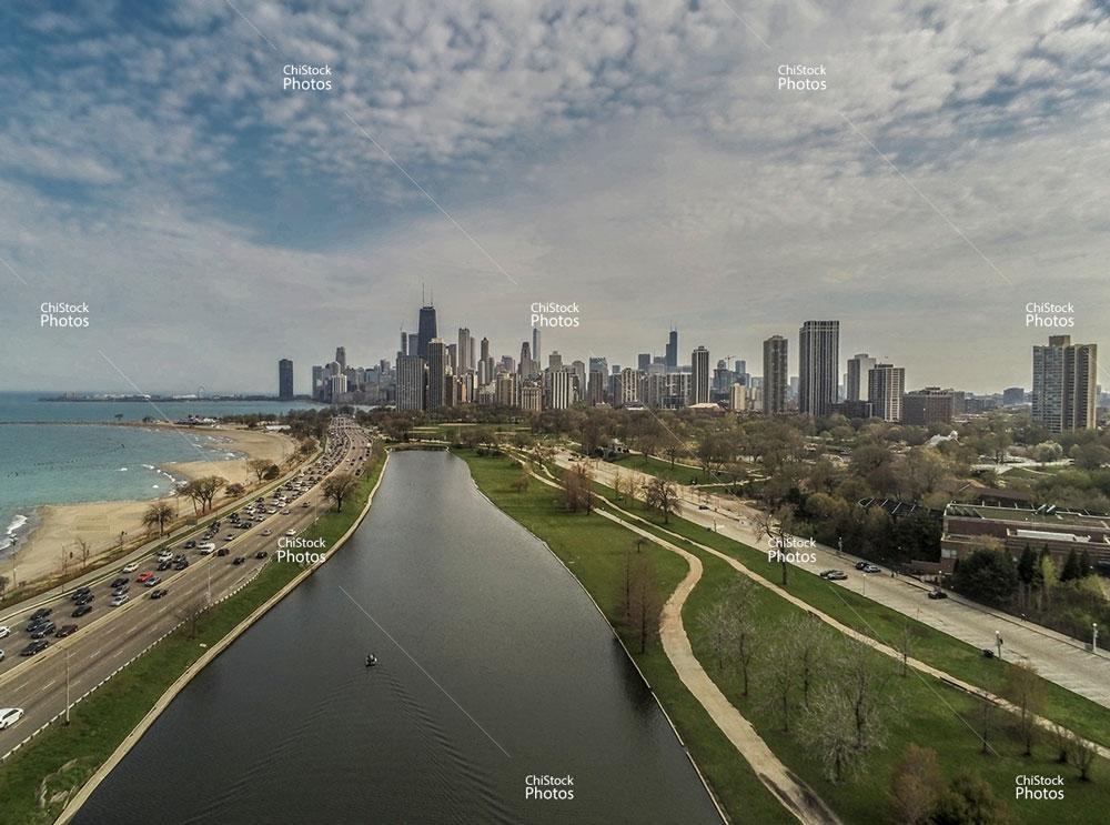 South Pond Lincoln Park Aerial View Chicago Skyline