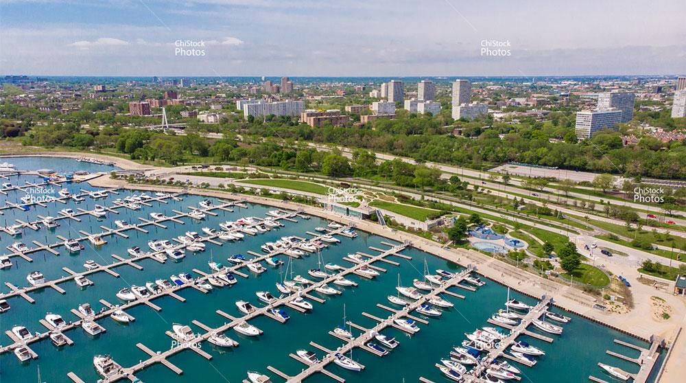 View Above 31st Street Harbor in Chicago's Douglas Neighborhood