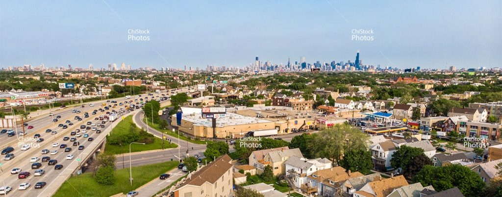 Above The Kennedy Expy Belmont Kimball CTA Station With Skyline In The Background