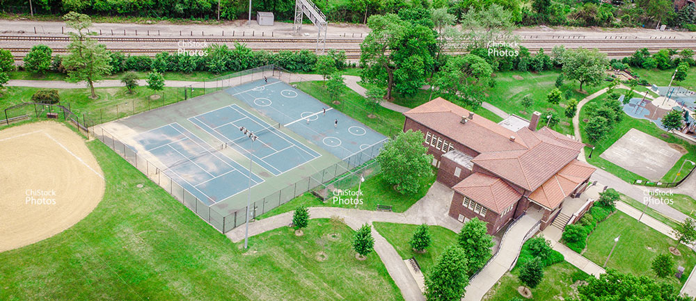 Aerial Drone View of Montclare Rutherford Sayre Field house