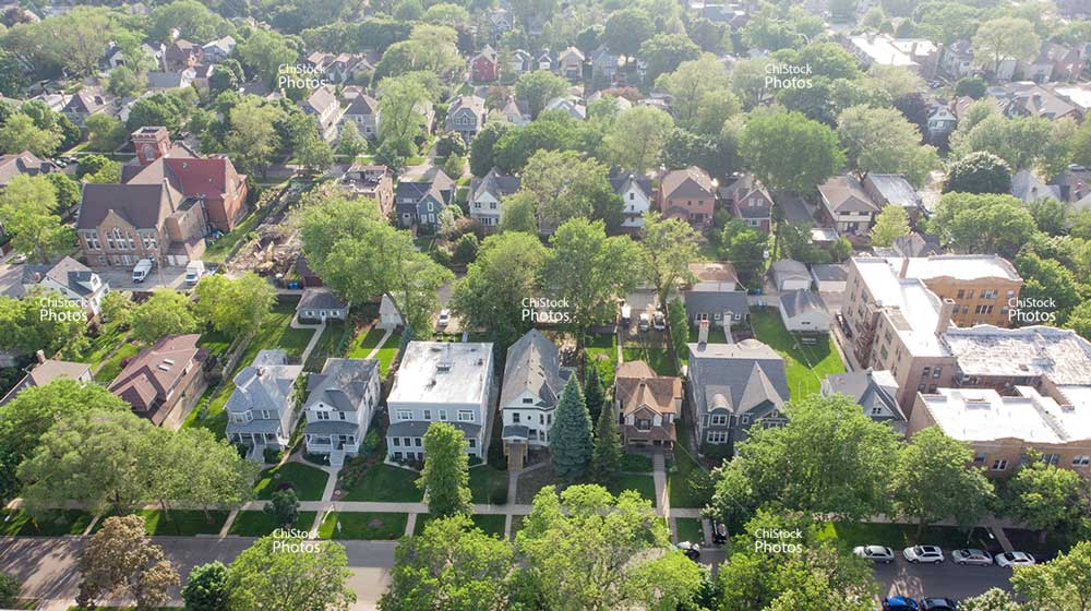 Old Irving Park Architecture Aerial