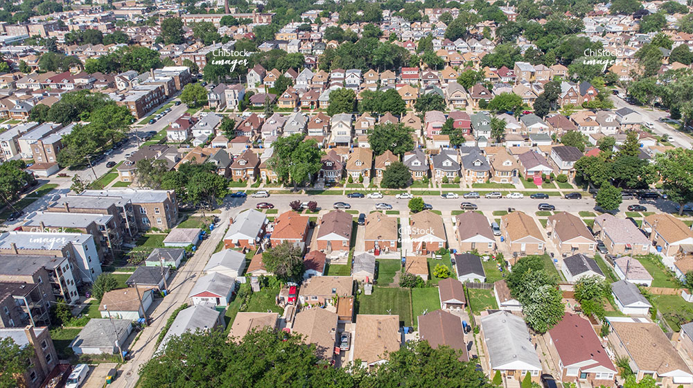 Aerial View Bungalow And Ranch Hermosa Neighborhood Chicago
