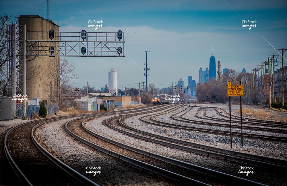 Approaching Metra Train in Belmont Cragin Chicago