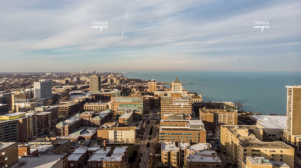 Aerial Panorama Drone View of Rogers Park Chicago