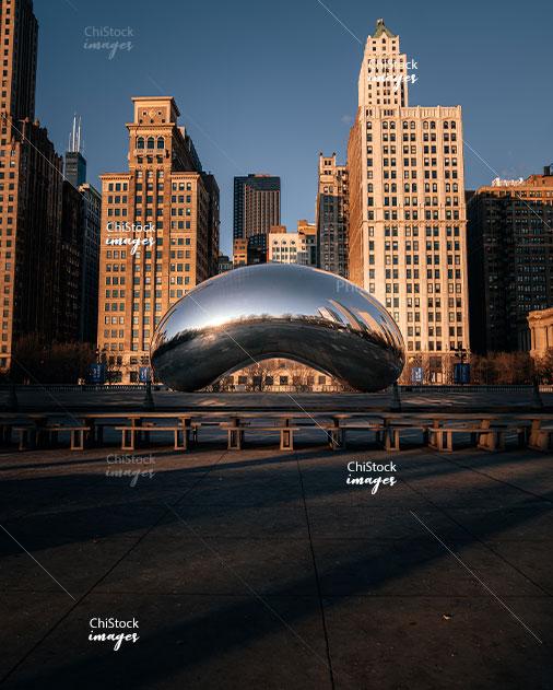 Empty Cloud Gate public sculpture, AKA the Bean, Millennium Park Downtown loop Chicago