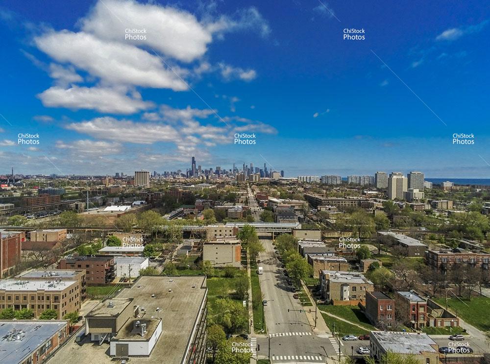 Grand Boulevard Chicago South Side Aerial Skyline View