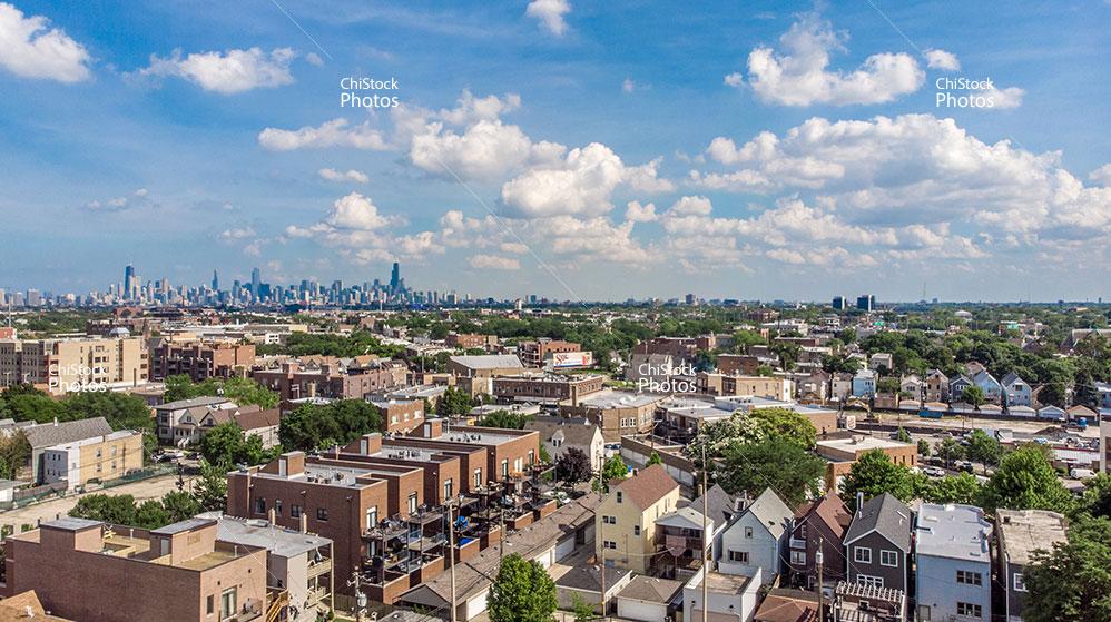 Aerial View of Avondale Neighborhood Chicago