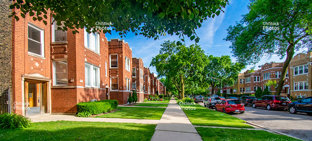 Row Of Two And Three Flats In Avondale Chicago