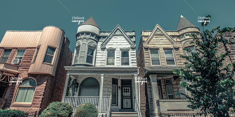 Greystones in historic Kenwood neighborhood Chicago