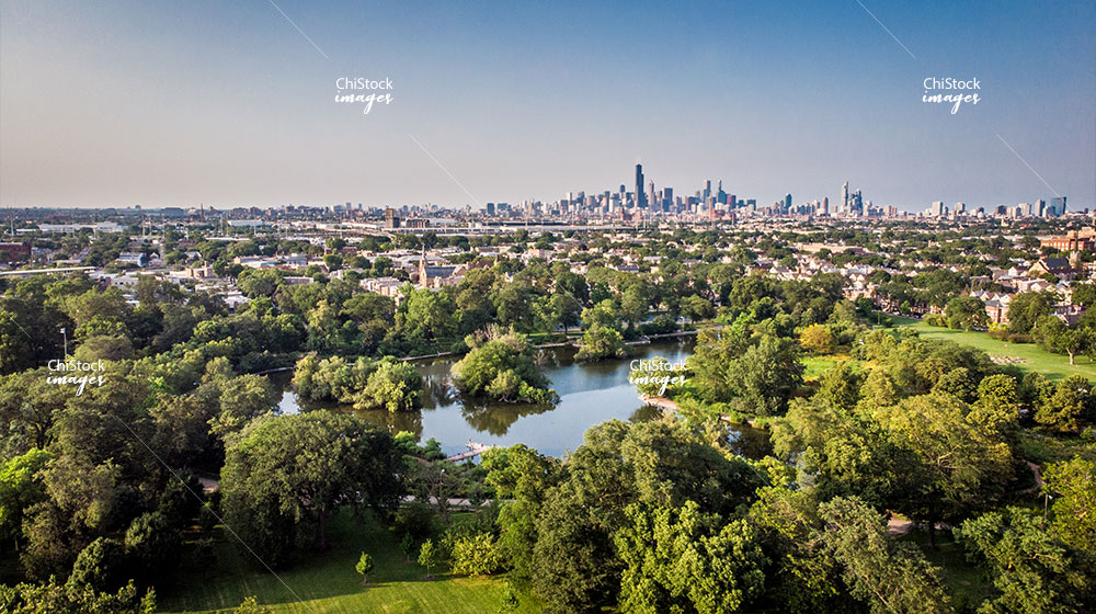 McKinley Park Lagoon With Chicago Skyline In Background