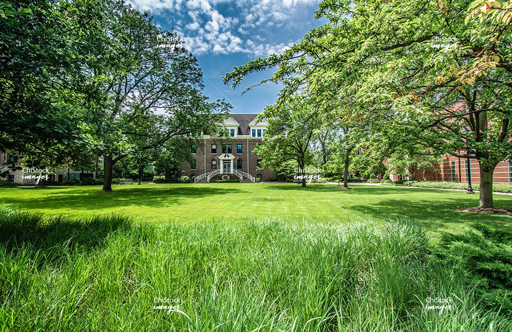 Front Lawn At North Park University in North Park Chicago