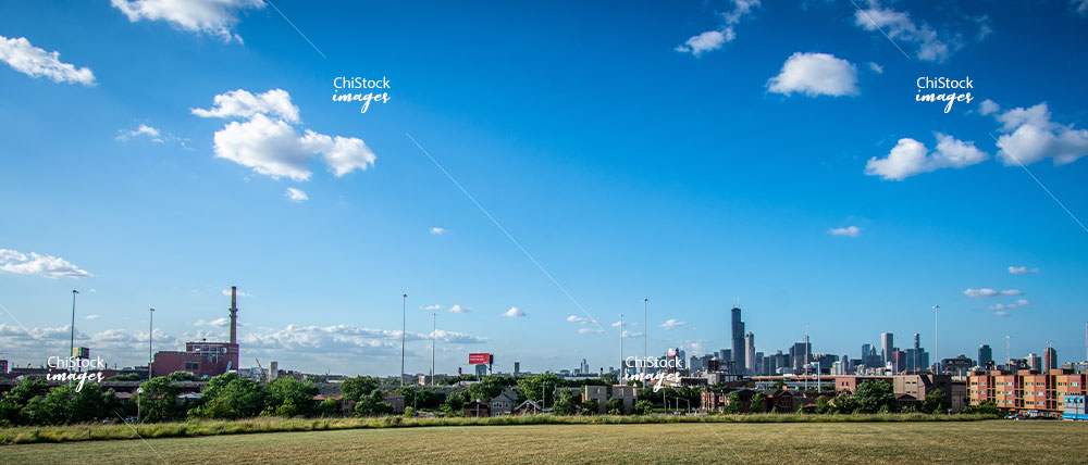 Skyline View From The Henry C Palmisano Nature Park Bridgeport Chicago