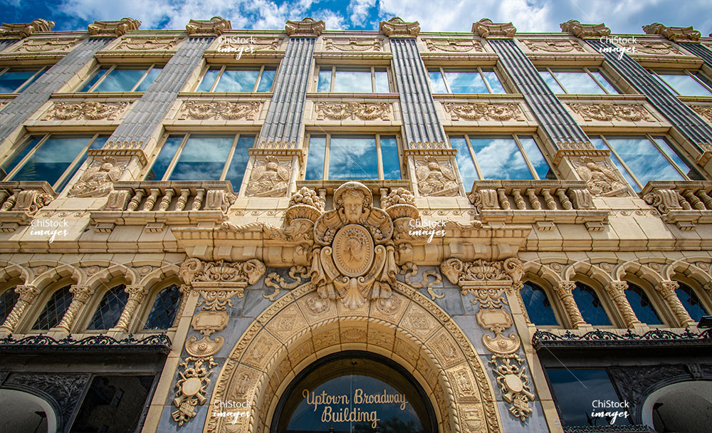 Looking Up At Ornamental Uptown Broadway Building Chicago
