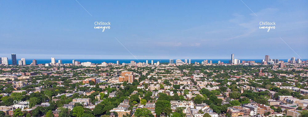 Aerial View Uptown Chicago Lakefront Skyline