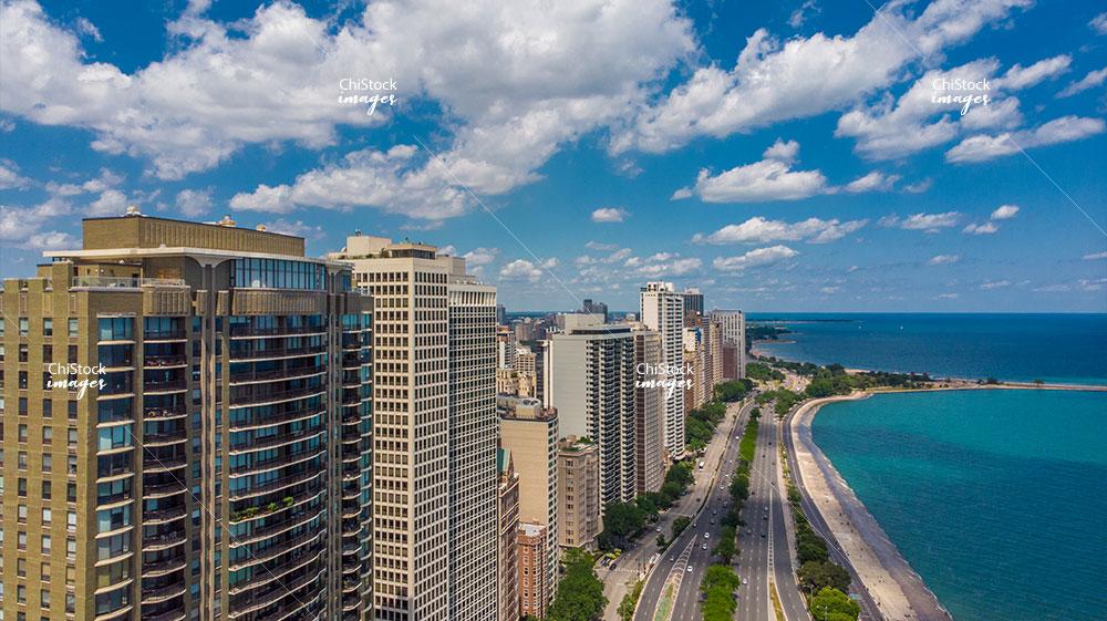Near North Side Above The Concrete Beach Lake Shore Drive Aerial View