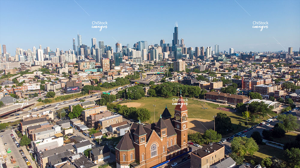 Above Saint Boniface West Town Noble Square Eckhart Park Aerial With Chicago Skyline Background