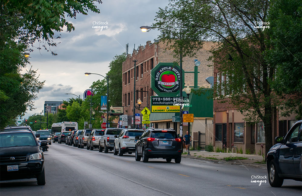 Retail stores in Milwaukee Avenue in Avondale Chicago