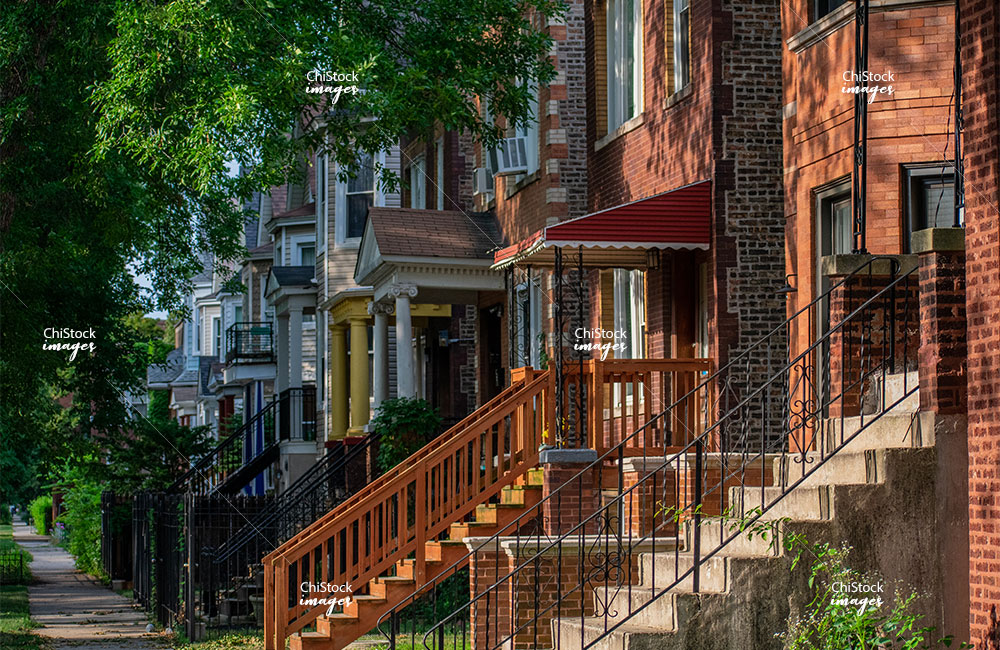 Multifamily flats in a side street in Avondale Chicago