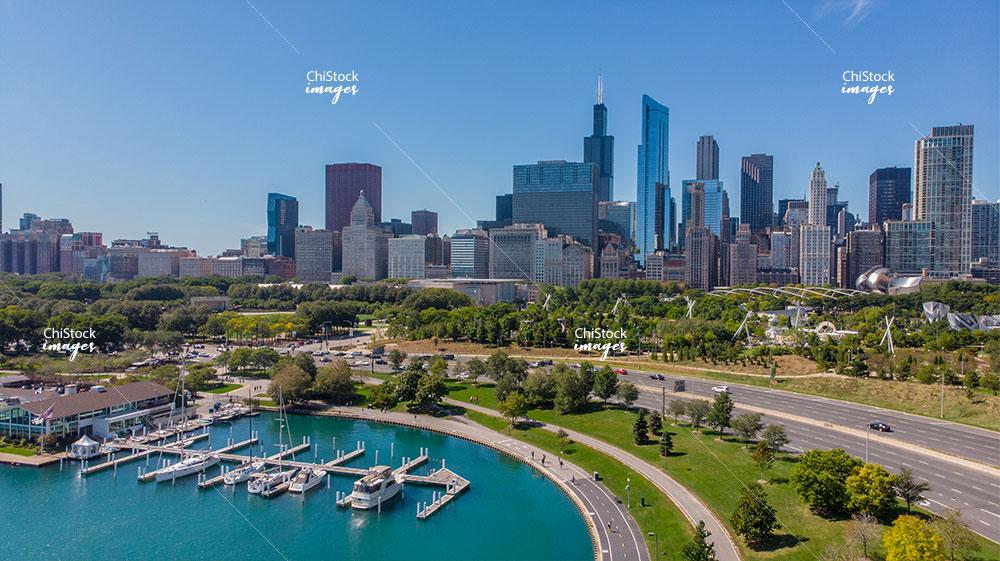 Aerial View of Lake Shore Park Loop Chicago