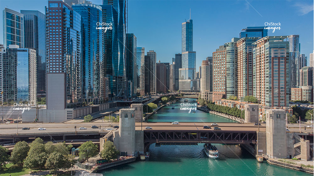 Aerial View of Chicago River Loop