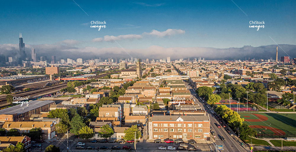 Aerial Drone View of Pilsen Lower West Side Chicago