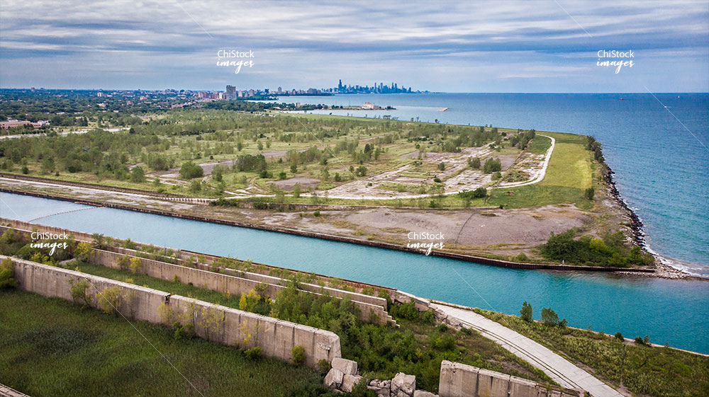 Aerial View of Steelworkers Park and the Former Site of US Steel with Skyline in the Background