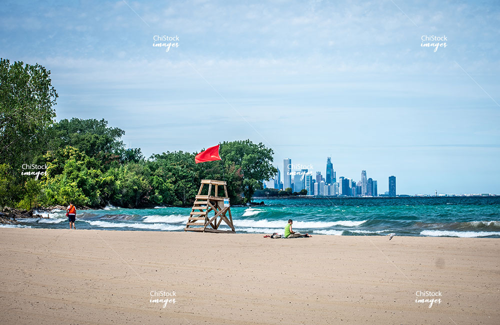 South Shore Rainbow Beach with Lake Michigan and Chicago Skyline