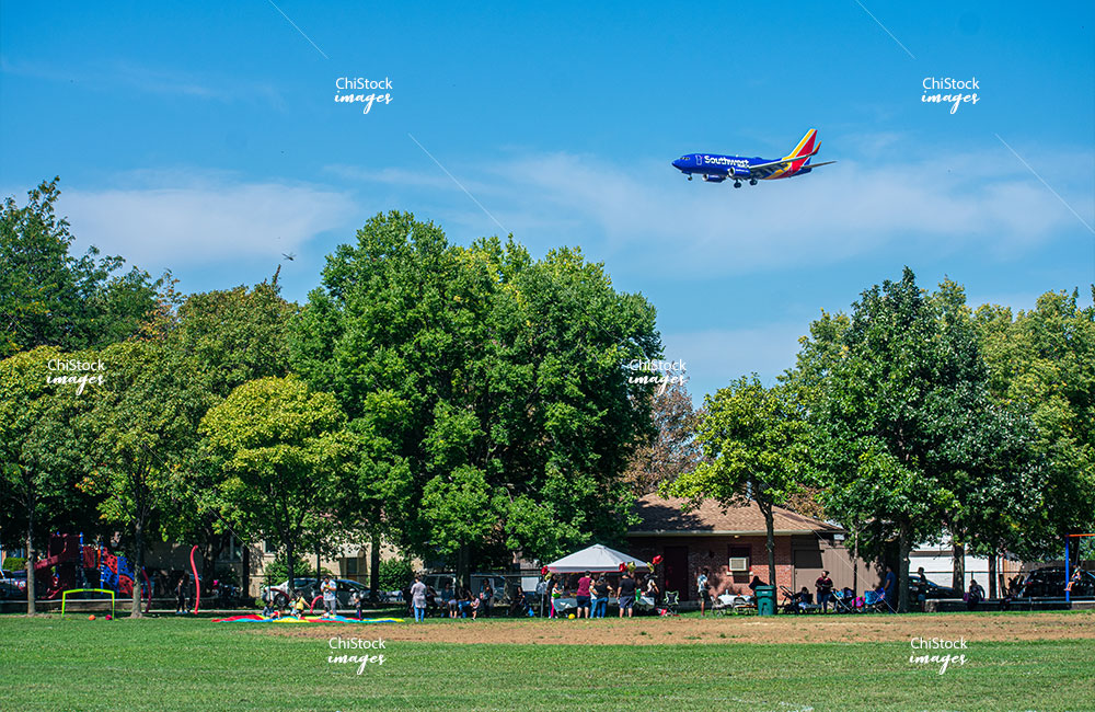 Southwest Airlines Airplane above Edward Strohacker Park West Elsdon, Chicago