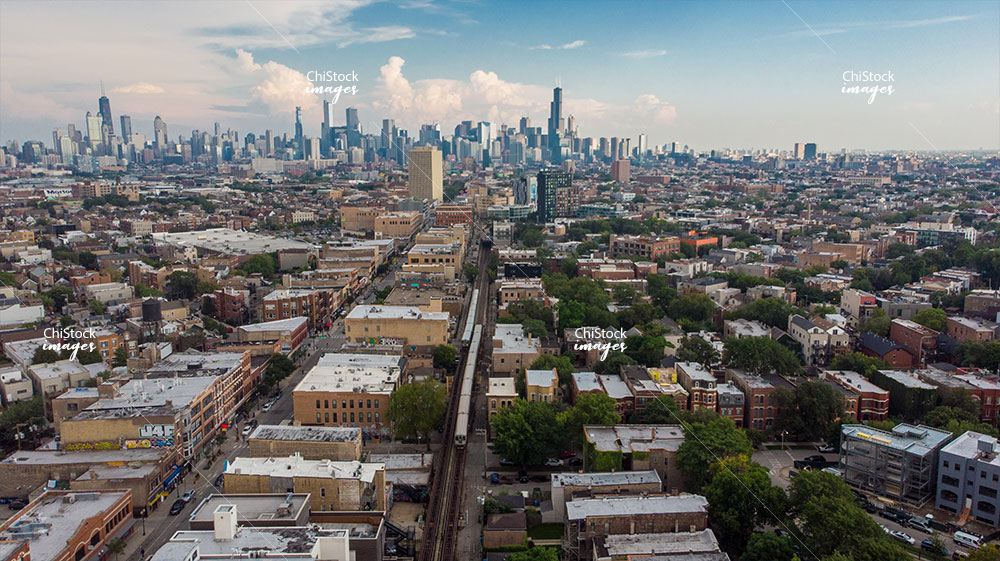 Wicker Park Milwaukee Ave Aerial Chicago Skyline