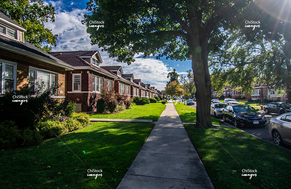 Bungalow homes on a side street in Auburn Gresham neighborhood of Chicago