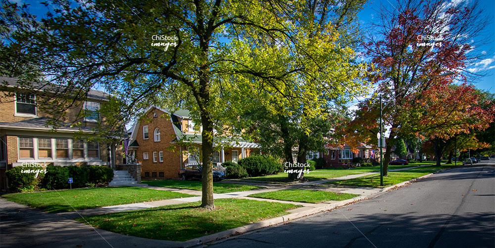 Residential homes on side street in Beverly neighborhood Chicago