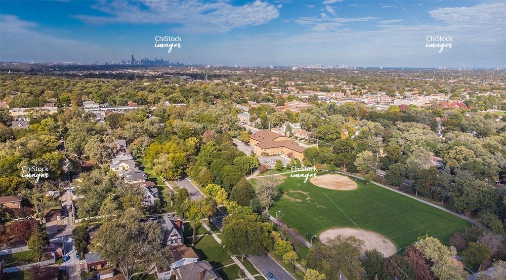 Aerial drone view above Ridge Park Beverly neighborhood Chicago
