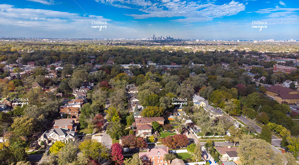 Aerial drone view above Beverly neighborhood, Chicago