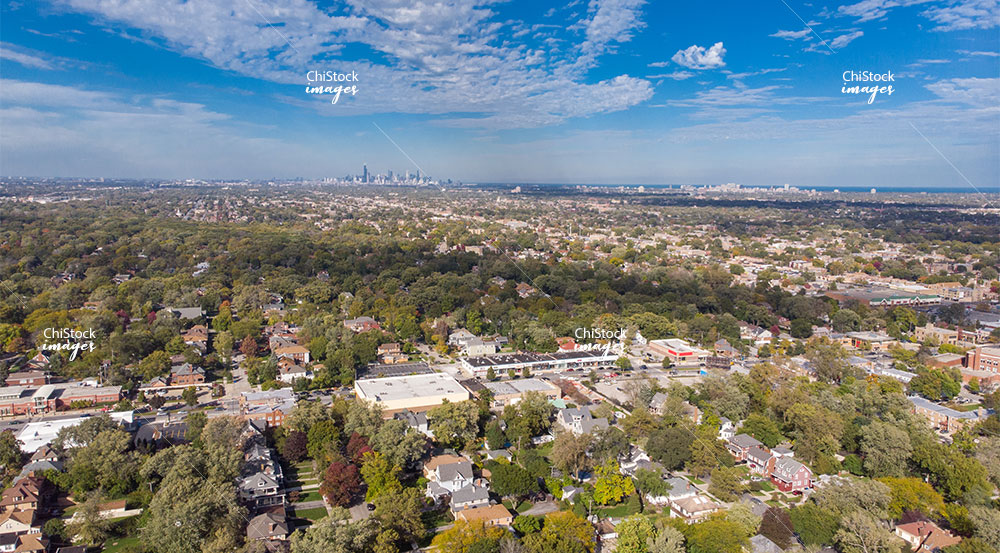 Aerial drone view above 103rd Street Beverly neighborhood, Chicago
