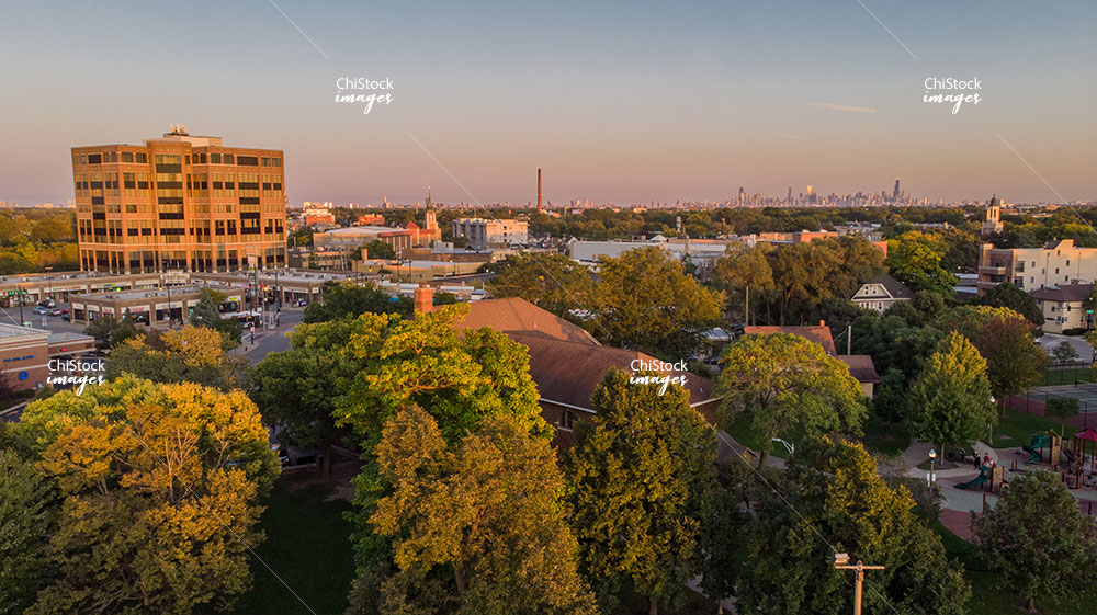 Afternoon aerial drone view of Jefferson Park neighborhood Chicago