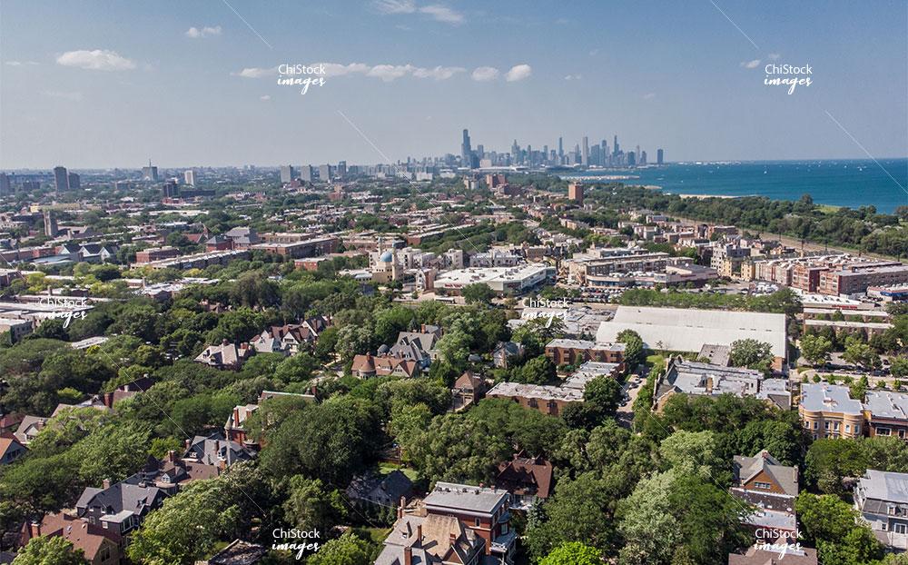 Aerial drone view of Kenwood neighborhood Chicago