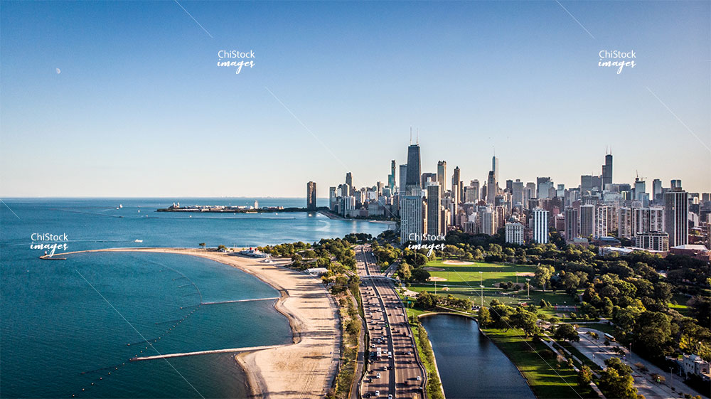 Aerial drone view of Lincoln Park North Ave Beach and Lake Shore Drive