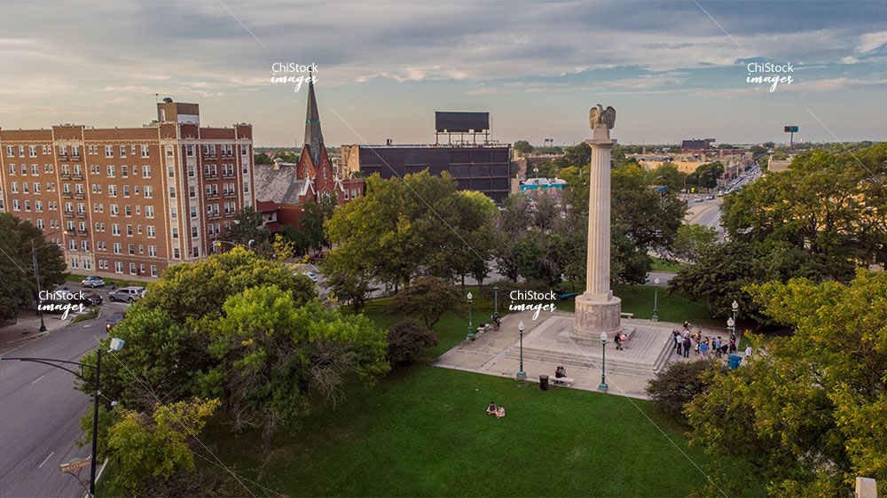 Aerial Drone view of Illinois Centennial Monument Logan Square Chicago