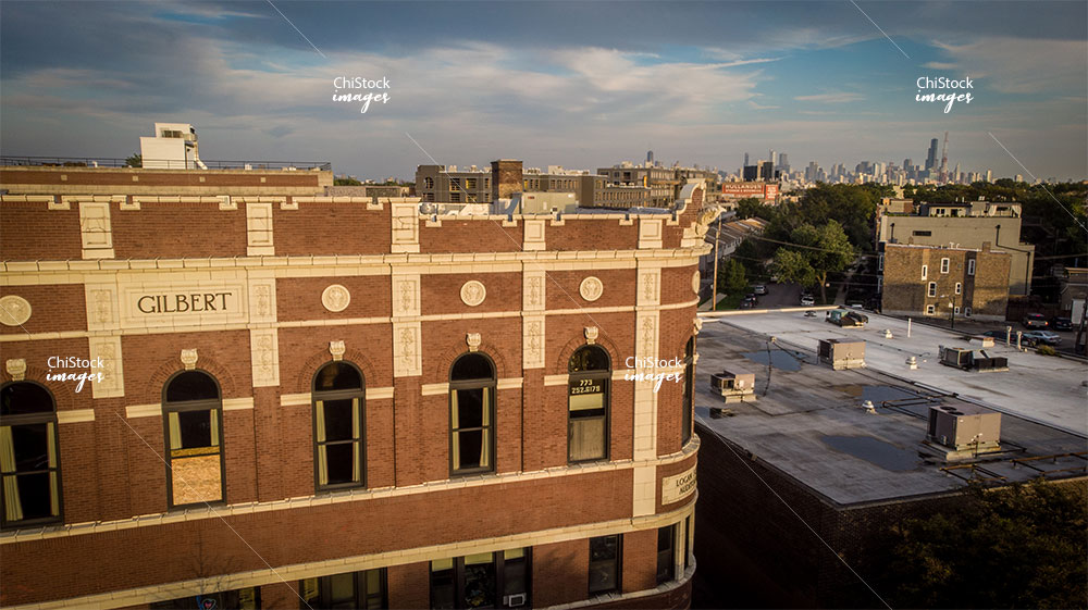 Aerial Drone View of Logan Square Auditorium