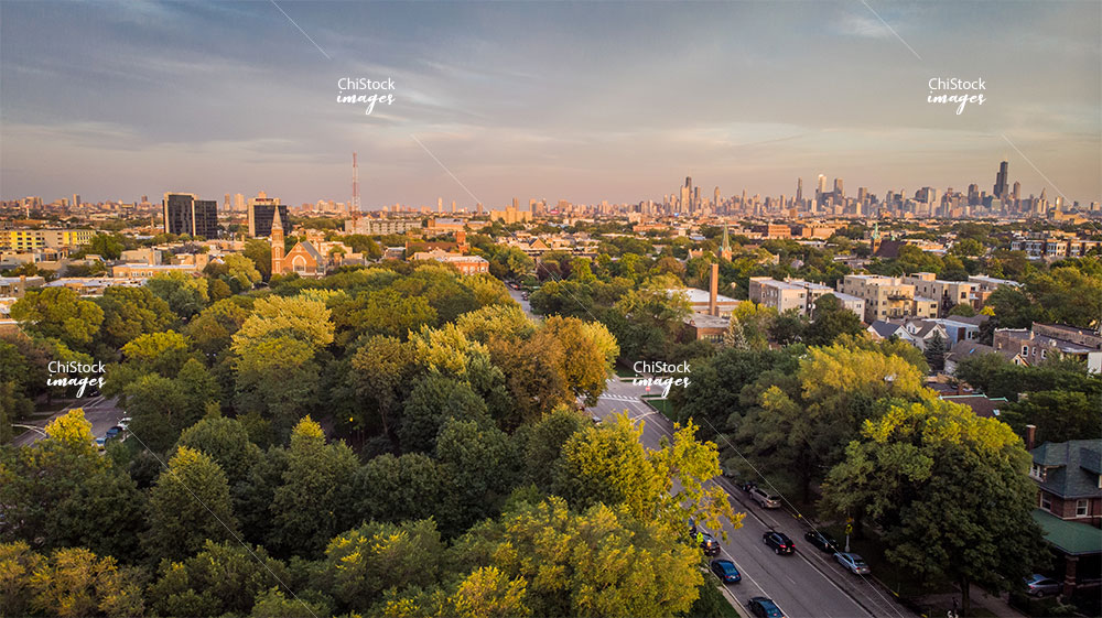 Aerial Drone View above Palmer Square Logan Square Chicago