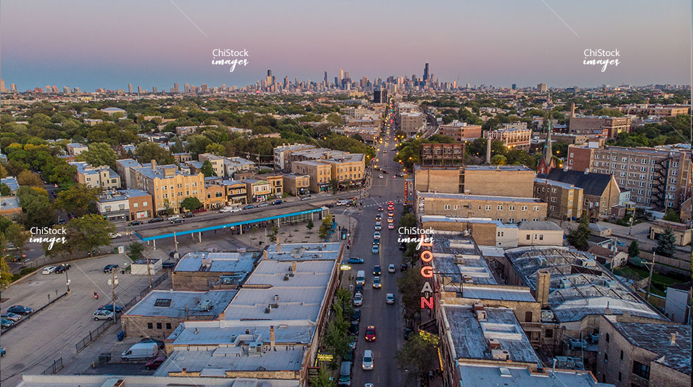 Twilight East Aerial Drone view of Milwaukee Ave Logan Square Chicago