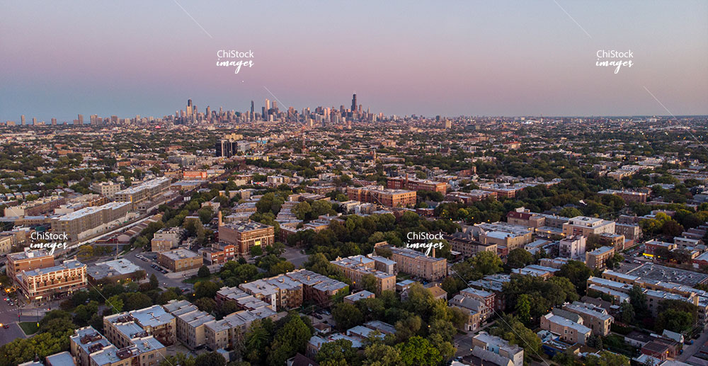 Twilight Aerial Drone View of Logan Square Chicago