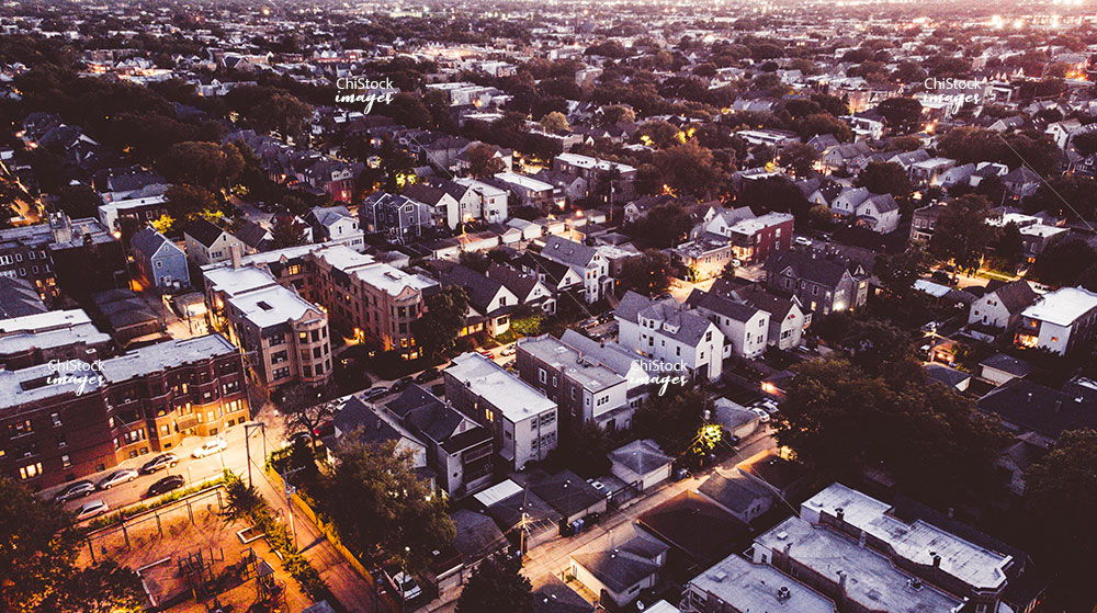 Evening Aerial Drone view of Logan Square Chicago