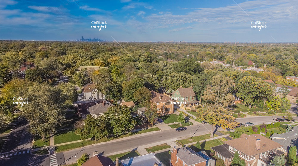 Aerial Drone View of Morgan Park Chicago