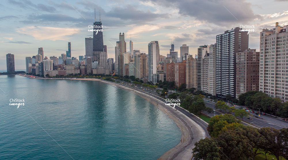 Aerial Drone View of Lakefront at Sunset Near North Side Chicago