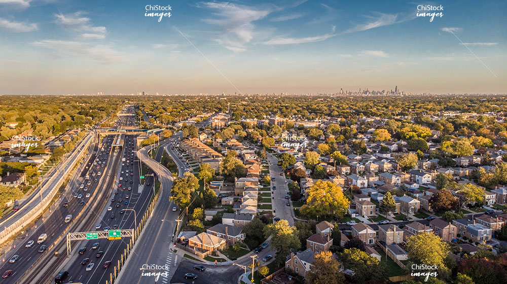 Aerial Drone View of Interstate 90 in Norwood Park Chicago